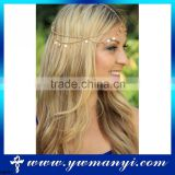 New model with high quality gold head chain new gold chain design bridal head chain H0021