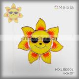 MX150001 wholesale garden metal stake with tiffany style stained glass sunflower garden ornament
