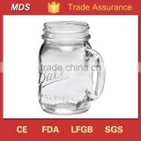 Regular handle glass tea cup mason jar with ball logo                                                                                                         Supplier's Choice