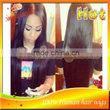 Silk Straight Front Lace Wig / Full Lace Wigs Unprocessed Brazilian Human Hair Natural Hairline For Black Women Made In China