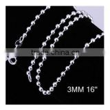 factory wholesale fashion 925 sterling silver plated Designers Jewelry charms DIY 3MM round bead chains for necklaces