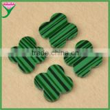 Hot Products Double Flat Polished Four Leave Clover Rough Synthetic Green Malachite Stone for sale