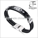 Rubber Accent Stainless Steel Double Male Symbol Gay Pride Rainbow Bracelet Wristband Wristlet for Gay Guys