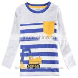 (A6615)2016 Novatx brand hook pattern embroidery fashion stripe Long Sleeve Baby boys t-shirt kids clothes wholesale