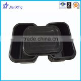 plastic rectangle black storage food container with lid