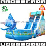 big fish attack outdoor sports equipment air trampoline prices, adult and baby inflatable used water slide for sale
