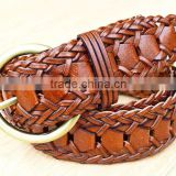 2015 Hot design lady belts Brown fashion braided leather belt