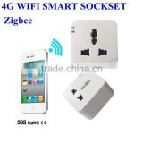Zigbee 4G WIFI Smart Plug Sockset ,wirless mobile phone remote control sockset ,New!