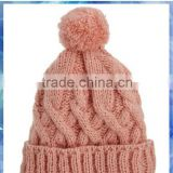 100% acrylic cable knit girls' hat/pom knitted beanie hat/girls fashion knitting beanie hat