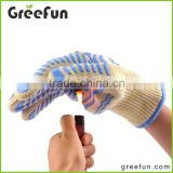 Grip Gloves Pot Holder , Finger Aramid Fiber Meat Gloves , Heat Resistant Firefighting Smoker Glove , Fireproof FirePlace Gloves