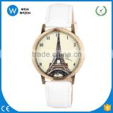 WLW025 Attractive Womens Vintage Eiffel tower Dial Leather Quartz Analog Unique Wrist Watches Peacock Ladies Watch Clock