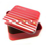 large metal square tin box for christmas cookies