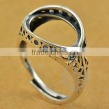 12*16.5mm 925 sterling silver antiqued silver vintage style oval carve patterns bezel ring base blank DIY findings 1223072