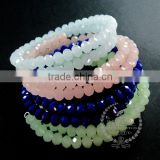 silver flower charm ice blue,pink,green,deep blue faceted glass beads 2 layers wiring bangle fashion bracelet 6490052