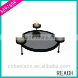 Beautiful Black Round Metal Desk Candle Holder Three Candles Party Lighting And Decoration
