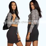 Sexy Photos women short Mini Skirt High Neck Long Sleeve Cropped Top & Office Lady Bodycon Pencil Skirt office ladies suits