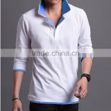 Custom Made Men's Autumn Stylish Plain White Double Layers Collar Long Sleeved Polo Tee Shirt In Oversize