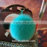 2016 Beautiful bag or garment car charms pure colors pompom wholesale genuine fox fur pom pom keychain