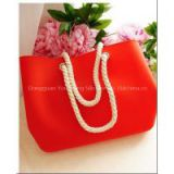 Fashion Novelty Candy Jelly Contrast Color Medium Size Waterproof Lady Silicone Handy Beach Bag