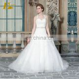 ED Spaghetti Straps Sleeveless Criss Cross Back Beads Belt A Line Appliques Floor Length Wedding Dress