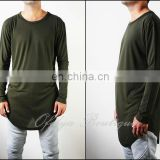 BLMN Army Green Mens Viscose Cotton Long Sleeve Wide Neck Lengthen Extended Oval Hem Tee Tshirt