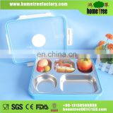 L High Quality 304 Stainless Steel Clear 5 Compartment 4 Locks Lunch Plate Food Tray Plate Dish With Lid