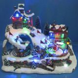 Resin Christmas Decoration 12'' LED  village scene with train go by the tunnel and rotating santa , eight songs music