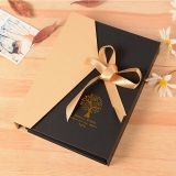 Luxury kraft paper gift paper packaging box with ribbon