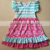 new fashion girls frock flutter dress comfortable fabric floral pattern ruffle dress boutique kids girls dress