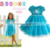 Custom Made Cinderella Dress Kids 2015 New Fashion Blue Cinderella Vestido De Daminha High Quality Dress For Girls