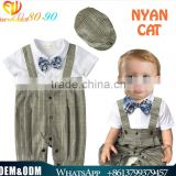 New tie cotton jumpsuits breathable toddler boy plaid stripe rompers breathable handsome boy clothing