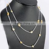 Designer Rough Citrine 925 Sterling Silver Chain, Indian Handmade Silver Beads, Online Silver Jewelry