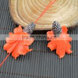 LFD-0020B DIY Orange Shell Flowers Pave Rhinestone Crystal Connectors Beads For Making Charm Bracelet necklace