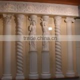white marbe stone columns with carving