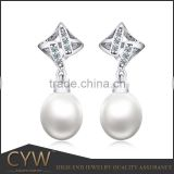 CYW party dresses fashion 2015 pearl silver earing, China wholesale 925 silver bridal jewelery
