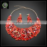 Wholesale Indian bridal women costume jewelry sets top quality heart shape hot-sale necklace and rings jewelry sets kHK715