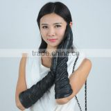 black tight ladies long leather gloves with elastic sleeve
