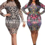 Women Dress Fat Size Fashion Long Sleeve Party Clubwear Bandage Bodycon Dress Plus Size 3XL