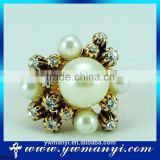 2016 Arrival Fashionable Crystal Alloy One Big And Some Small Pearl Ring R0181                                                                         Quality Choice