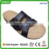 Hot Selling PU Leather Men's Flat Wood Sole Men Cork Slippers Sandals