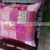 Patchwork Cushion Cover, handmade Pink Color sofa cushion covers, Vintage Cushion Cover, Old patches