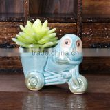 Home garden ceramic bicycle small decorative flower pots from jingdezhen
