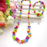 new style fashion jewelry set children's necklace bracelet set kid plastic winter bead chunky gift for baby