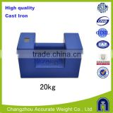 20kg class M1 mass, high quality cast iron elevator weight, load test weights,blue color