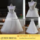 New Design High Neck Sleeveless Appliqued Bow Heavy Beaded Wedding Dresses For Fat Woman