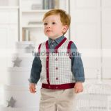 DB1440 dave bella 2014 autumn winter infant clothes toddlers waistcoats plaid baby knited vest