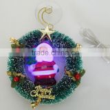 "Premium 5"" USB Merry Chirstmas Glowing LED Santa Clause Wreath with Suction Cup"