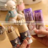 Wholesale Creative stationery Cartoon with pencil sharpener 12 colors barrel packaging color pencil