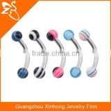 ZeSen Body Jewelry Factory supplier Multi Coat Acrylic Balls Curve Eyebrow Bar Ring
