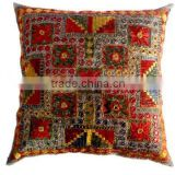 RTHCC-61 Latest collect Unique Stylish Gujrati Mirror Work Embroidered Cotton cushion covers New Year Home Decor